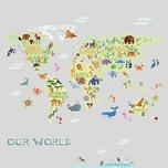 Roommates Wandsticker Kids World Map 33-Tlg.