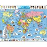 Larsen Rahmen-Puzzle 107 Teile 36x28 cm Karte Erde politisch