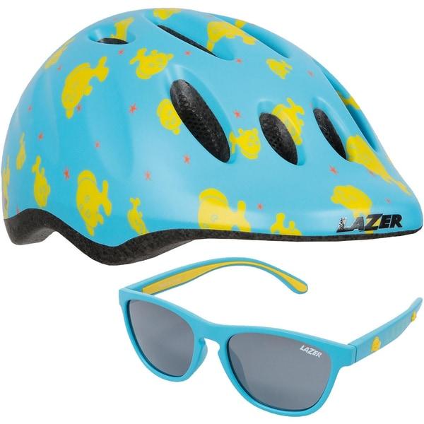 Lazer Fahrradhelm Max+ Blub und Sonnenbrille Set Gr. 49-56 cm blau