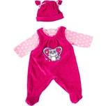 BAYER Kleider für Puppen 40-46 cm: 3-tlg. - Latzhose Oberteil Mütze rosapink