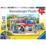 Ravensburger 2er Set Puzzle je 12 Teile 26x18 cm Polizei und Feuerwehr