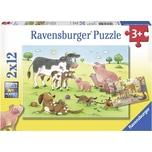 Ravensburger 2er Set Puzzle je 12 Teile 26x18 cm Glückliche Tierfamilien