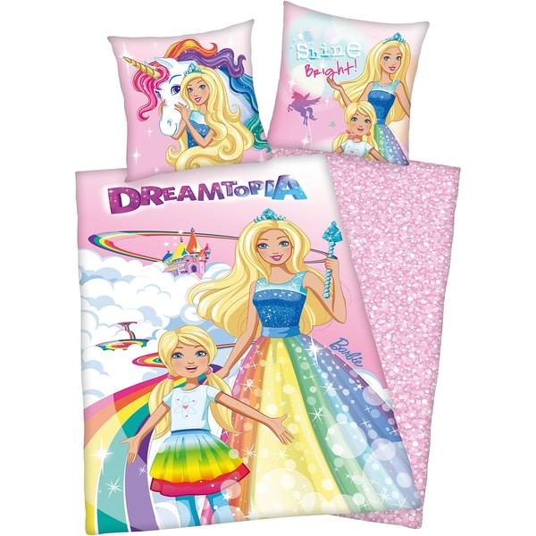 Herding Wende- Kinderbettwäsche Barbie Dreamtopia Rencorcé 135 x 200 cm