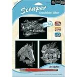 Mammut Spiel und Geschenk Scraper Kratzbilder 3er Set Silber Pferde