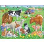 Larsen Rahmen-Puzzle 15 Teile 36x28 cm Haustiere Und Nutztiere