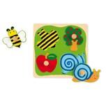 Goula Holzpuzzle 4 Teile Biene Apfelbaum Apfel und Schnecke