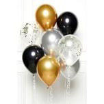 Amscan DIY Ballonbouquet Schwarz Gold Silber 8 Ballons