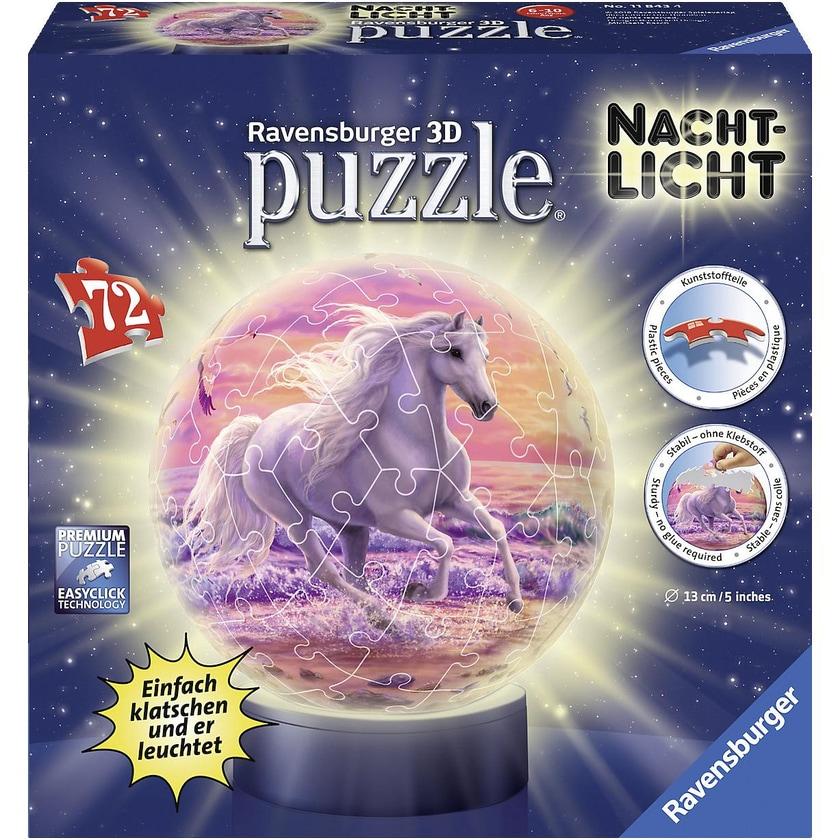 Ravensburger 2in1 Nachtlich puzzleball Ø13 cm 72 Teile Pferde am Strand