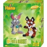 Hama Perlen 3247 Geschenkset 3D Fuchs und Hase 2.500 Midi-Perlen Zubehör