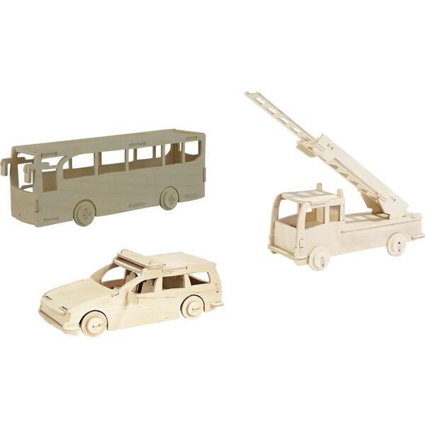 Pebaro Holzbausatz-Set Feuerwehr Polizei Bus