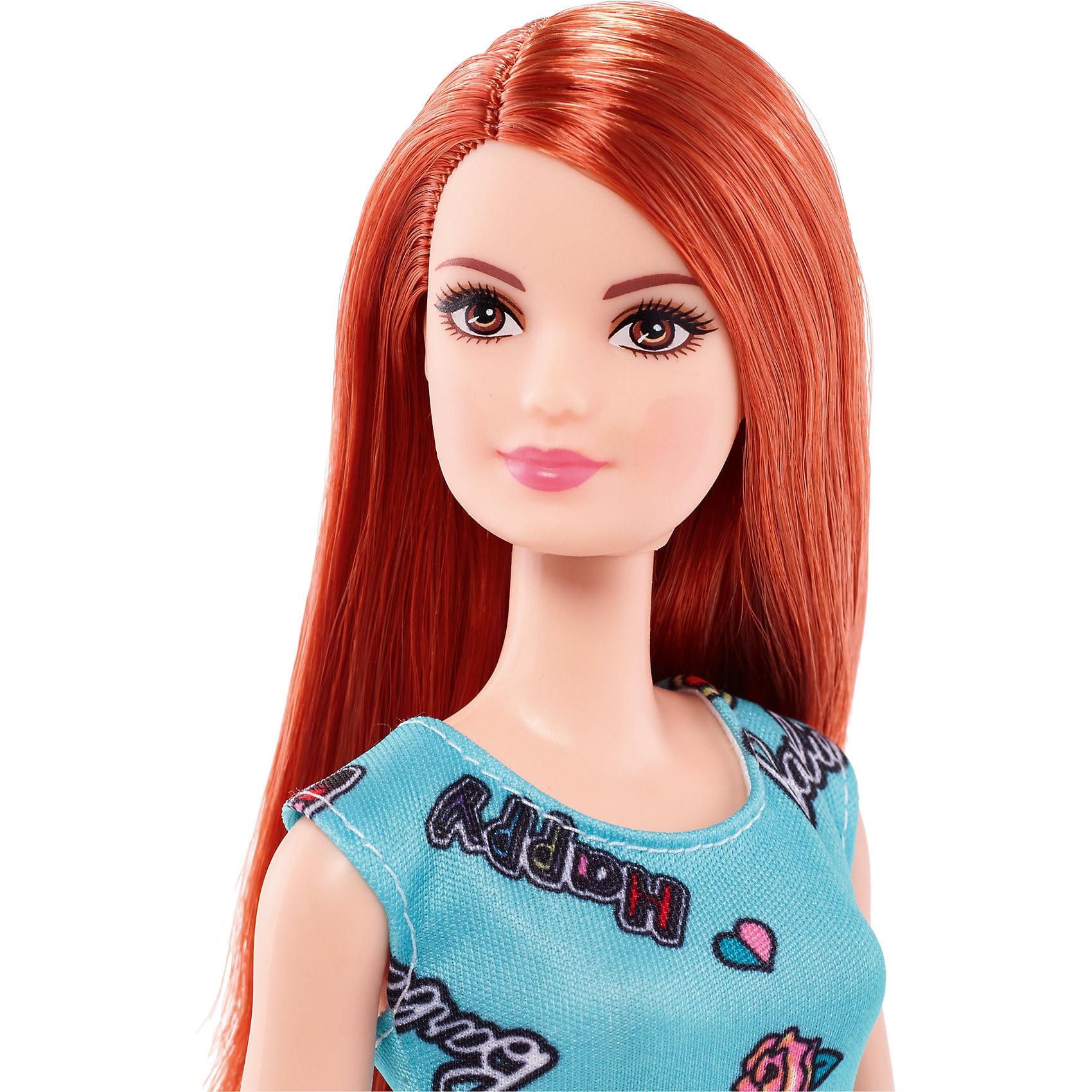 Mattel Chic Barbie Puppe im blauen Kleid mit Prints rothaarig