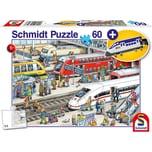 Schmidt Spiele Am Bahnhof 60 Teile mit add on Kofferanhänger Schnellzug