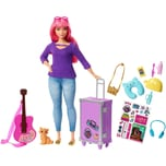 Mattel Barbie Daisy Reise Puppe pinke Haare mit Zubehör Anziehpuppe Modepuppe
