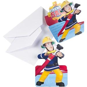 Amscan Einladungskarten Feuerwehrmann Sam 8 Stück inkl. Umschläge