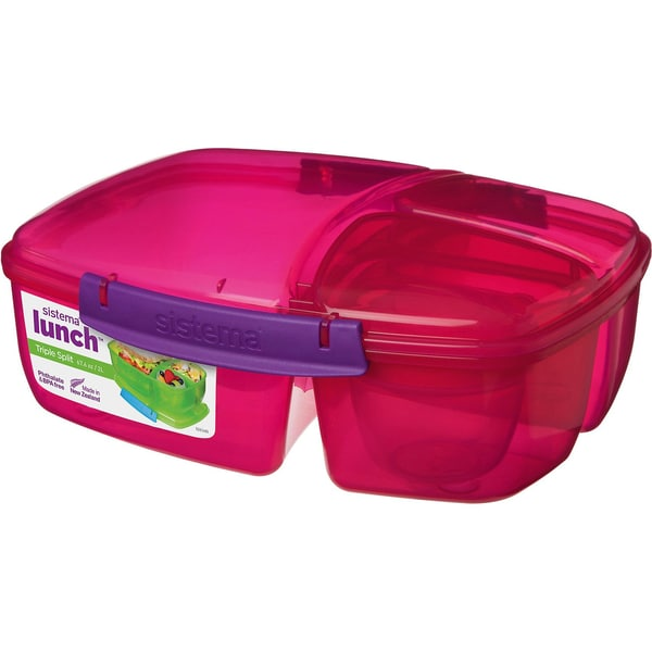 sistema Triplesplit Lunchbox 3-fach unterteilt pink