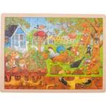 Goki Holzpuzzle 96 Teile Unser Garten über und unter der Erde