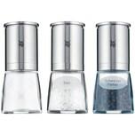 WMF De Luxe Salz und Pfeffermühle Set 3-teilig befüllt, Cromargan Edelstahl, Glas, Keramikmahlwerk