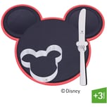 WMF Disney Mickey Mouse Schneidebrett Set 3-teilig, Schneidbrett mit Kindermesser & Ausstecher, Kunststoff, Cromargan Edelstahl poliert, spülmaschinengeeignet