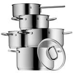 WMF Intension Topfset 5-teilig mit Glasdeckel, Kochtopf, Stielkasserolle, Cromargan Edelstahl poliert, Induktion, spülmaschinengeeignet
