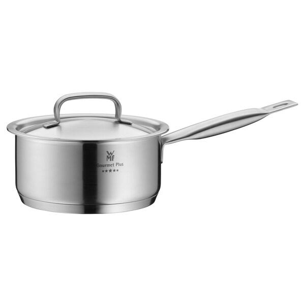 WMF Gourmet Plus Stielkasserolle mit Metalldeckel Ø 16 cm, Cromargan Edelstahl mattiert, Innenskalierung, Dampföffnung, induktionsgeeignet, spülmaschinengeeignet, 1,4l