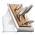 WMF Chef's Edition Messerblock mit Messerset 5teilig, Spezialklingenstahl, Made in Germany, 3 Messer geschmiedet, Schere, Block-Bambus, Kunststoff, Edelstahl, Performance Cut
