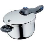 WMF Perfect Plus Schnellkochtopf 4,5l mit Einsatz, Cromargan Edelstahl poliert, 2 Kochstufen Einhand-Kochstufenregler, induktionsgeeignet, spülmaschinengeeignet, Ø 22 cm