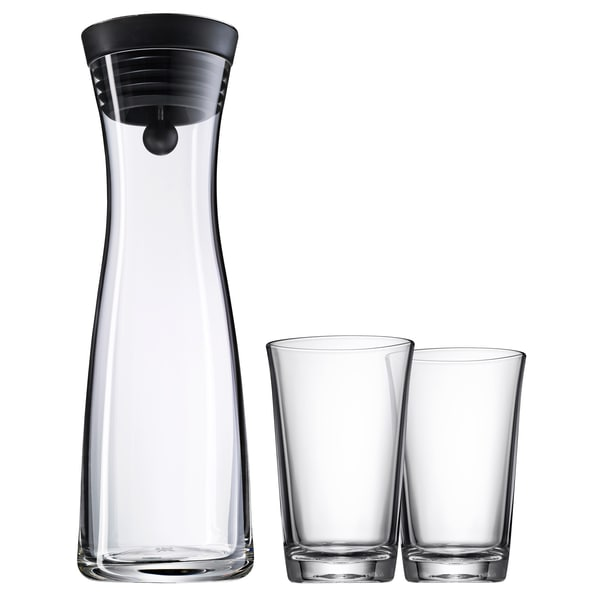 WMF Basic Wasserkaraffe Set 3-teilig, Karaffe 1l mit 2 Wassergläser 250ml, Glas, Höhe 30,2 cm, Glaskaraffe mit Deckel, Silikondeckel, CloseUp-Verschluss