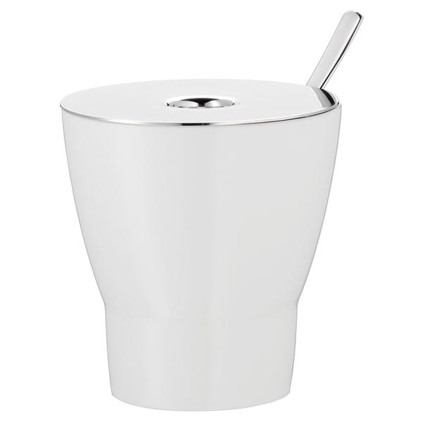 WMF Barista Zuckerdose mit Löffel, Porzellan, Cromargan Edelstahl poliert, Löffel- & Schüttöffnung, für Streu- und Würfelzucker 130g,
