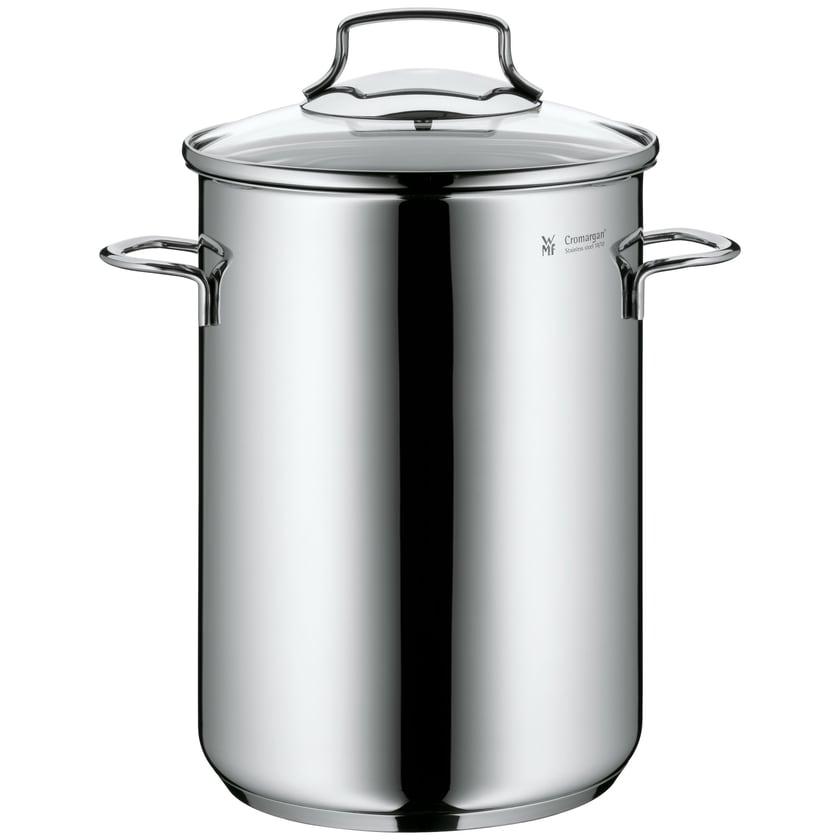 WMF Spargeltopf hoch mit Glasdeckel, 16cm, Cromargan Edelstahl poliert, Dampfgarer, Topf mit Siebeinsatz, geeignet für Pasta, Spaghetti, Gemüse, induktionsgeeignet, 5,0l