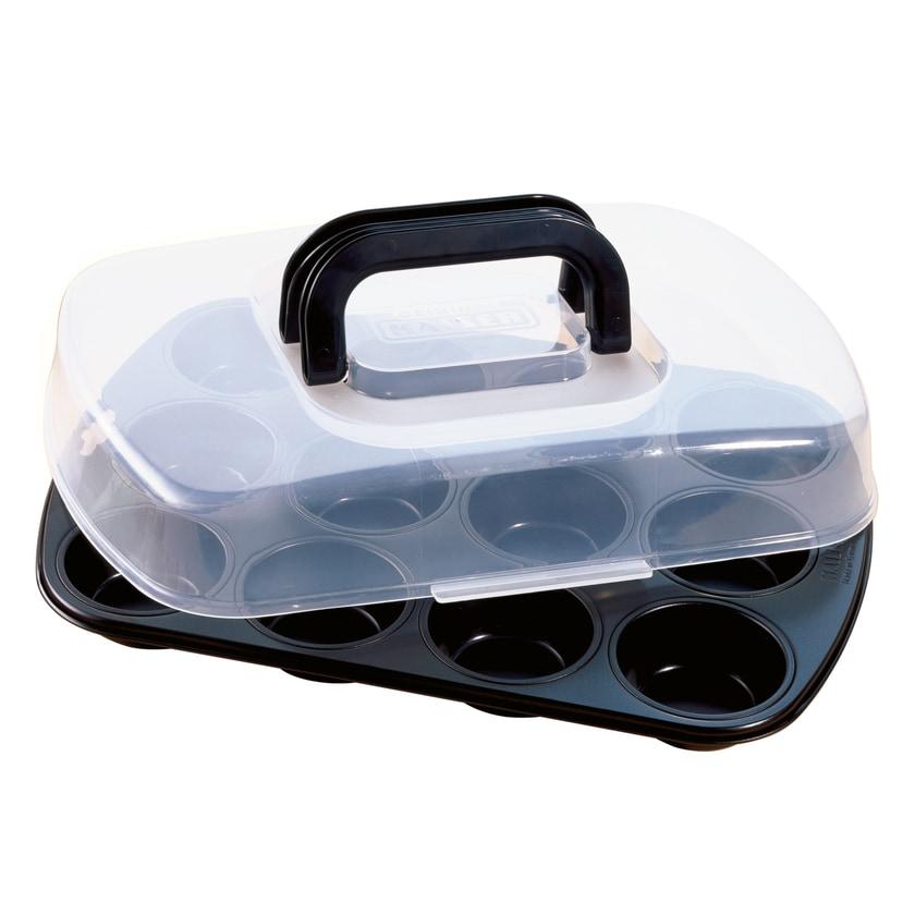 Kaiser Inspiration Muffinform für 12 Muffins 38 x 27 cm mit Transporthaube antihaftbeschichtet klappbarer Griff praktisches Frischalten und Aufbewahren