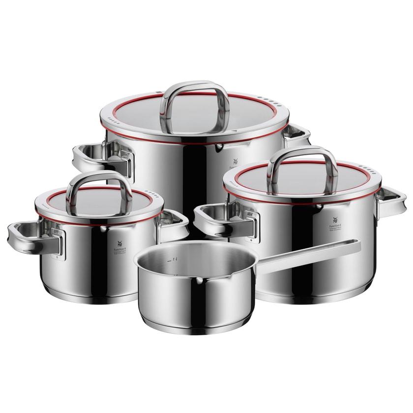 WMF Function 4 Topfset mit Glasdeckel und Stielkasserolle 4-teilig rot