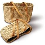Neustanlo Einkaufstasche aus Wasserhyazinthe Oval Klein, langer Henkel