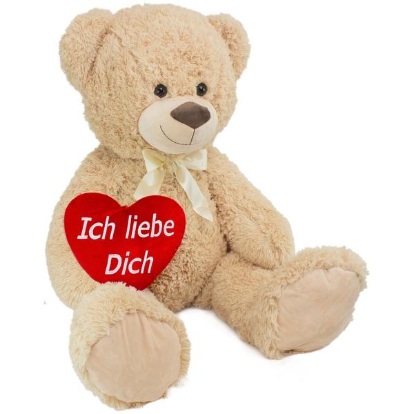 Brubaker XXL Teddybär 100cm Beige mit einem Ich liebe Dich Herz