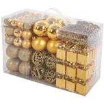 Brubaker 101-teiliges Set Weihnachtskugeln mit Baumspitze Christbaumschmuck Gold