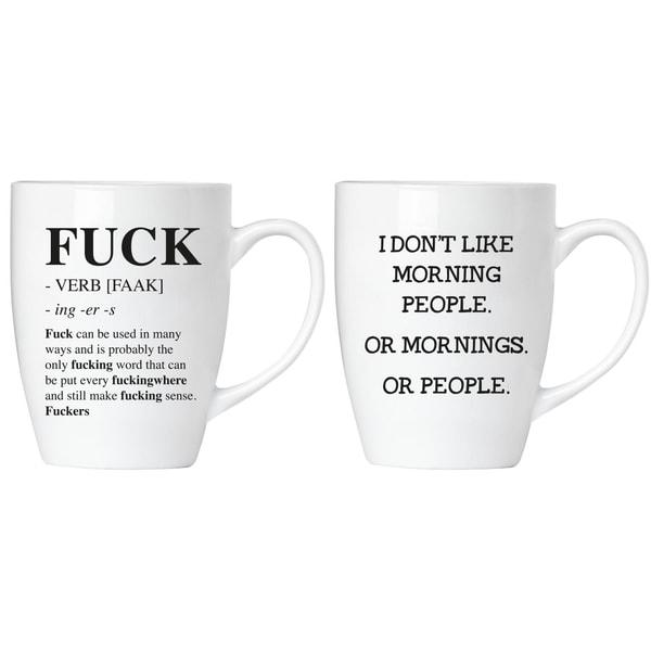Brubaker Fuck! I Don't Like Mornings or People Tassen Set mit Grußkarte in Geschenkpackung