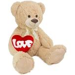 Brubaker XXL Teddybär 100 cm Beige mit einem Love Herz