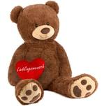 Brubaker XXL Teddybär 100 cm Braun mit einem Lieblingsmensch Herz Stofftier Plüschtier Kuscheltier