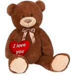 Brubaker XXL Teddybär 100 cm Dunkelbraun mit einem I Love You Herz