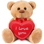 Brubaker Teddy Plüschbär mit Herz Rot - I Love You - 35 cm - Teddybär Plüschteddy Kuscheltier