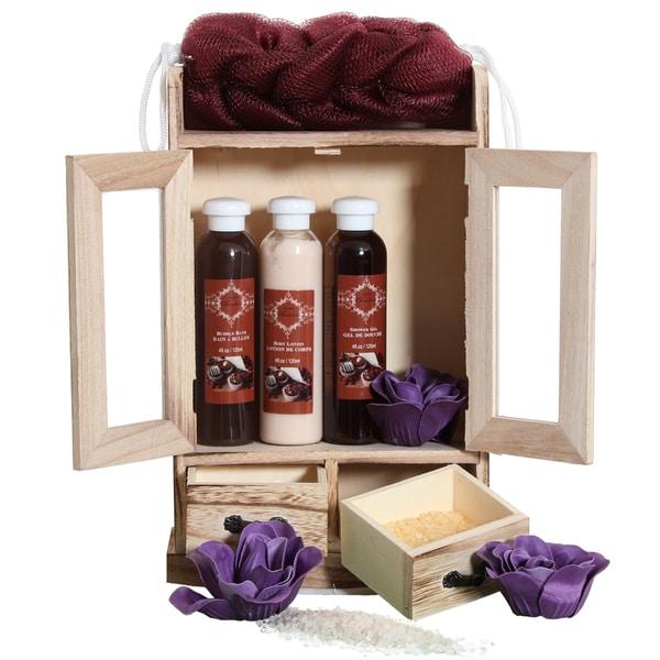 Brubaker Bade- und Pflegeset Schokolade im Holzschrank