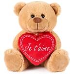 Brubaker Teddy Plüschbär mit Herz Rot Beige Je t'aime 25 cm