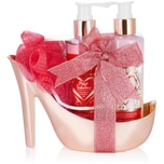 BRUBAKER Cosmetics 5-tlg. Bade- und Dusch Set Himbeere Champagner - Pflegeset Geschenkset in High Heel Rosé Gold