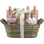 Brubaker Bade- und Dusch Set Aprikose und Granatapfel Duft 11-teiliges Geschenkset in Flechtkorb