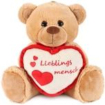 Brubaker Teddy Plüschbär mit Herz Rot Beige - Lieblingsmensch - 35 cm - Teddybär Kuscheltier