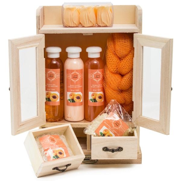 Brubaker Bade- und Pflegeset Pfirsich im Holzschrank