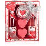 BRUBAKER Cosmetics 5-tlg. Bade- und Dusch Set Erdbeere Sweet Love - Pflegeset Geschenkset mit Blumen Design - Geschenkidee für Frauen und Männer - Pink