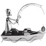 BRUBAKER Schraubenmännchen Angler im Boot aus Eisen handgemachte Geschenkidee für Angler und Fischer