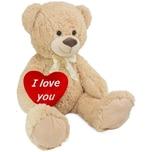Brubaker XXL Teddybär 100cm Beige mit einem I Love You Herz
