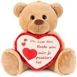 Brubaker Teddy Plüschbär mit Herz Rot Beige - Du bist das Beste was Mir je passiert ist - 35 cm