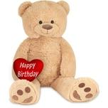 Brubaker XXL Teddybär 100 cm Beige mit einem Happy Birthday Herz Stofftier Plüschtier Kuscheltier